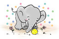 Elephant playing ball with a of fun and enjoyment Royalty Free Stock Images