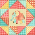 Elephant quilt pattern vintage patchwork seamless background Stock Photography