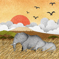 Elephant in Safari field recycled paper background Stock Photo