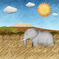 Elephant in Safari field recycled paper background Stock Photos