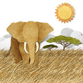 Elephant in Safari field recycled paper background Stock Photography