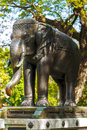 Elephant sculpture , cast in metal. Royalty Free Stock Photo