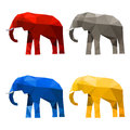 Elephant set painted in imaginary colors isolated on white Royalty Free Stock Photo