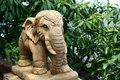 Elephant statue stone in restaurant terrace Royalty Free Stock Images