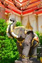 Elephant statue at temple thailand Stock Photos