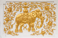 Elephant in traditional Thai style molding art Royalty Free Stock Photo
