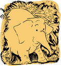 Elephant two colour cartoon of an Stock Image