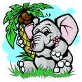 Elephant under palm tree vector illustration