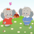 Elephant vector birthday party card with funny Stock Image