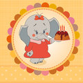 Elephant vector birthday party card with funny Royalty Free Stock Photos