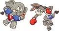 Elephant vs donkey Royalty Free Stock Photo