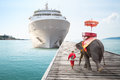 Elephant waiting tourists from cruise ships for ride tour Royalty Free Stock Photo