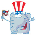 Elephant waving an american flag Stock Image
