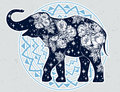 Elephant with wild rose flowers, star ornaments.