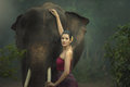 The elephant with woman Royalty Free Stock Photo
