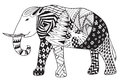 Elephant zentangle stylized vector, illustration, freehand penci Royalty Free Stock Photo