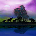 Elephants in africa theme setting with beautiful c silhouette of colorful sunset Royalty Free Stock Image