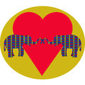 Elephants in love and heart Royalty Free Stock Photo