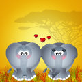 Elephants in love illustration of Royalty Free Stock Images