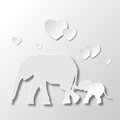 Elephants Mom and Son Love and Caring Royalty Free Stock Photo
