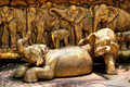 Elephants sculpture composition Royalty Free Stock Image