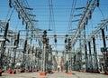 Elettricità, industria, tecnologia, potenza, power-line Fotografia Stock Libera da Diritti