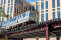 Elevated commuter train in Chicago Royalty Free Stock Photo
