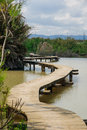 Elevated footpath en afek an wooden over a water pond in nature reserve northern israel Stock Images