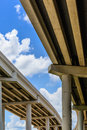 Elevated highway upward view of with blue sky and clouds Stock Images