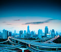 Elevated overpass at dusk beautiful city in shanghai Stock Photo
