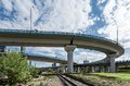 Elevated road underpass over the railway in moscow Stock Photo
