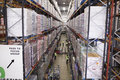 Elevated view of aisle between storage units in a warehouse Royalty Free Stock Photo