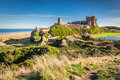 Elevated View of Bamburgh Castle Royalty Free Stock Photo