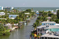 Elevated view of fort myers beach downtown area from matanza pass bridge looking west towards the gulf mexico Royalty Free Stock Photos