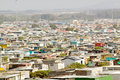 Elevated view of shanty towns or Squatter Camps, also known as bidonvilles, in Cape Town, South Africa Royalty Free Stock Photo