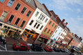Elevated view of storefronts on market street portsmouth new hampshire main usa Stock Images