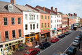 Elevated view of storefronts on market street portsmouth new hampshire main usa Royalty Free Stock Photo