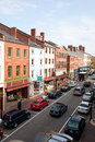 Elevated view of storefronts on market street portsmouth new hampshire main usa Stock Photo