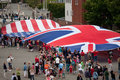 Elevated view of us and british flag for bicentennial war which also feaures canadian uss constitution ship Royalty Free Stock Photos