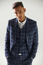 Elevated view of young man wearing suit Royalty Free Stock Photo