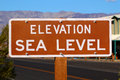 Elevation Sea Level Sign Stock Image