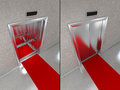Elevator with red carpet two images one opened doors and one closed doors Royalty Free Stock Photo