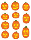 Eleven Pumpkin Faces Stock Image