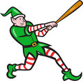 Elf baseball player batting isolated cartoon illustration of an batter hitter with bat done in style on white background Royalty Free Stock Image