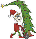 Elf Carying A Tree Royalty Free Stock Photography