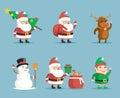 Elf Deer Snowman Santa Claus Cartoon Characters Christmas New Year Icons Set Flat Design Vector Illustration