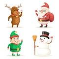 Elf Deer Snowman Santa Claus Cartoon Characters Christmas New Year Icons Set Flat Design Vector Illustration Royalty Free Stock Photo