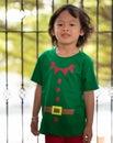 Elf boy help santaclaus in christmas send presents Royalty Free Stock Photo