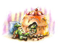 Elf fairytale holiday cake watercolor illustration Stock Images
