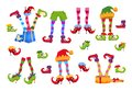 Elf feet. Elves foot in shoes and hat. Christmas dwarf leg in pants with santa gifts isolated vector set